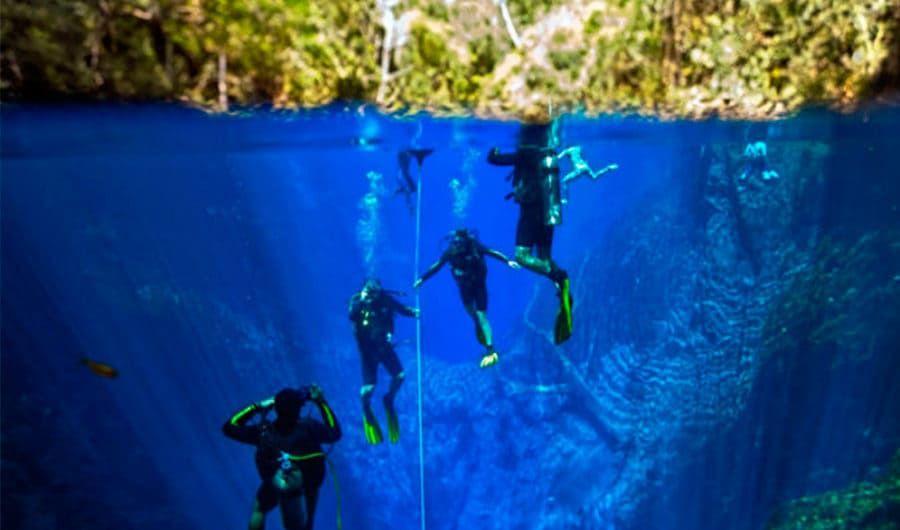Flutuação com Cilindro na Lagoa Misteriosa